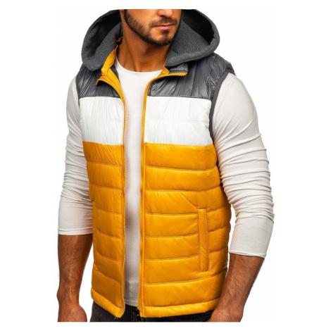 Pánská jarní vesta s kapucí 6105 - žlutá, DStreet