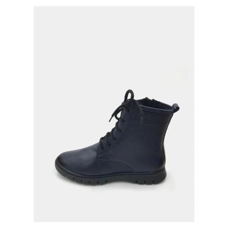 Tmavomodré dámske kožené členkové topánky WILD