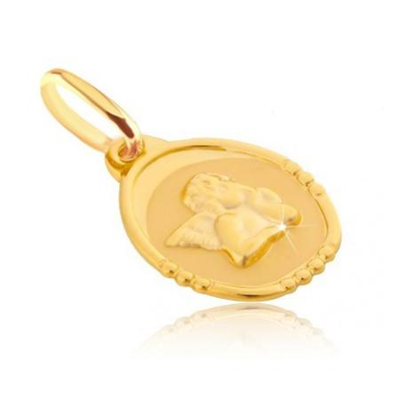 Zlatý prívesok 585 - oválna známka s bucľatým anjelikom