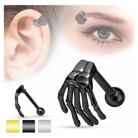 Oceľový piercing do ucha alebo obočia, kostra ruky, rôzne farby - Farba: Zlatá