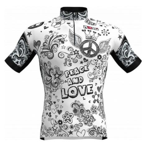 Rosti PEACE AND LOVE biela - Pánsky cyklistický dres