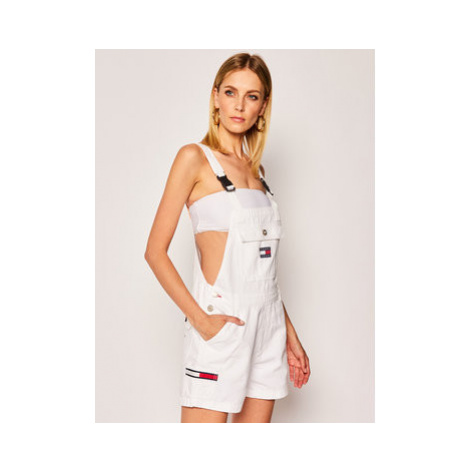 Tommy Jeans Nohavice na traky Dungaree DW0DW08138 Biela Regular Fit Tommy Hilfiger