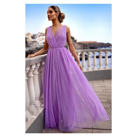 Fialové trblietavé dlhé šaty Agnes