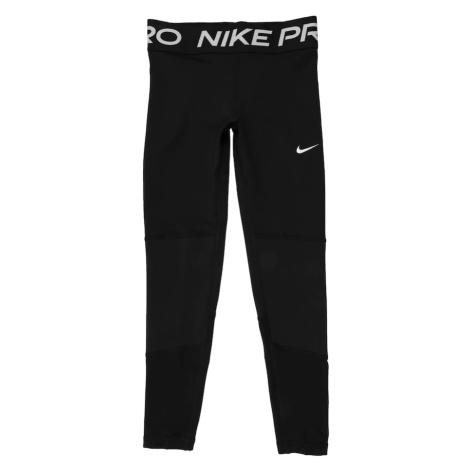 NIKE Športové nohavice  čierna / biela / svetlosivá