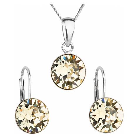 Sada šperkov s krištáľmi Swarovski náušnice, retiazka a prívesok červené okrúhle 39140.3