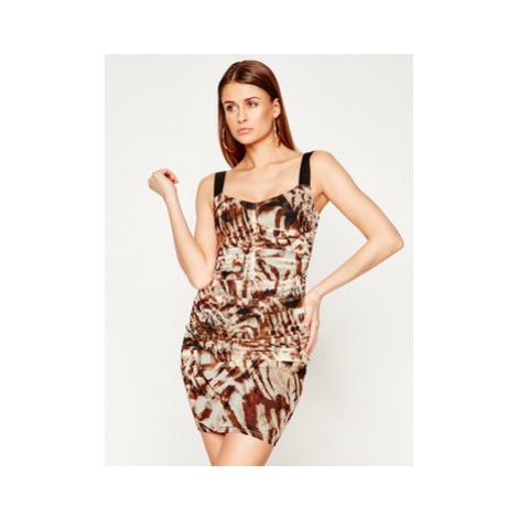 Marciano Guess Koktejlové šaty Sandscape 02G724 6875Z Hnedá Slim Fit
