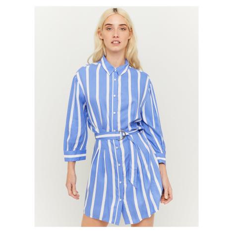 Modré pruhované košeľové šaty s opaskom TALLY WEiJL