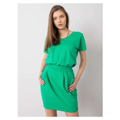 RUE PARIS Green dress with a belt
