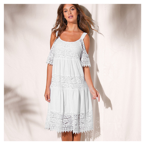 Blancheporte Šaty s čipkou a volánmi biela