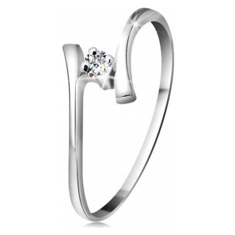 Zlatý prsteň 585 - žiarivý číry briliant, tenké zahnuté ramená, biele zlato - Veľkosť: 59 mm
