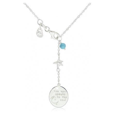 Lesklý náhrdelník zo striebra 925 - modrá gulička, hviezdica, mušľa a známka s nápisom