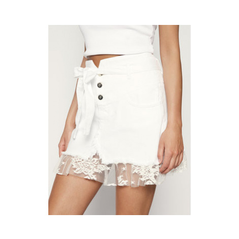 Liu Jo Džínsová sukňa FA0349 T8361 Biela Regular Fit