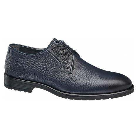 AM SHOE - Tmavomodrá kožená spoločenská obuv AM SHOE