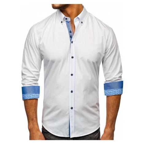 Biela pánska elegantná košeľa s dlhými rukávmi Bolf 8838-1