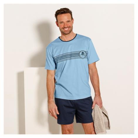 Blancheporte Pyžamo so šortkami a krátkymi rukávmi modrá/nám.modrá
