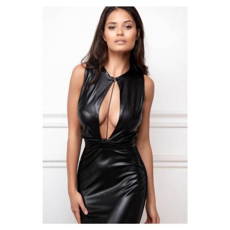 Čierne šaty z eko kože Gigi