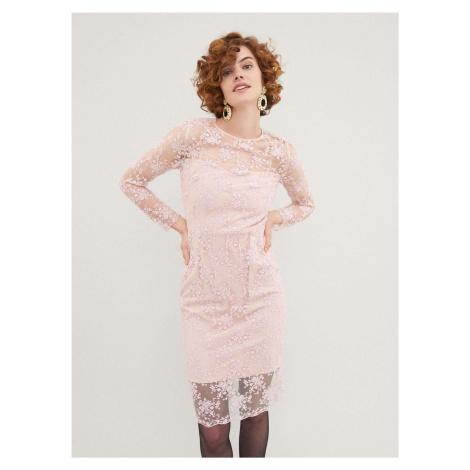 Ružové čipkované šaty Pietro Filipi