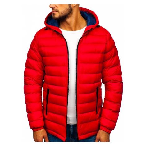 Červená pánska prešívaná športová zimná bunda Bolf  JP1101