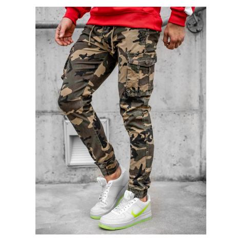 Khaki kapsáčové jogger nohavice s maskáčovým vzorom Bolf CT6019