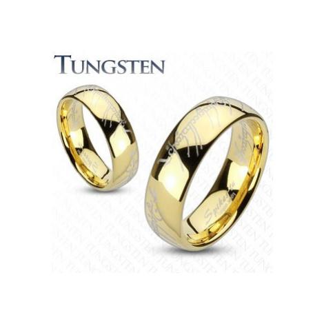 Obrúčka z wolfrámu zlatej farby, motív Pána prsteňov - Veľkosť: 69 mm