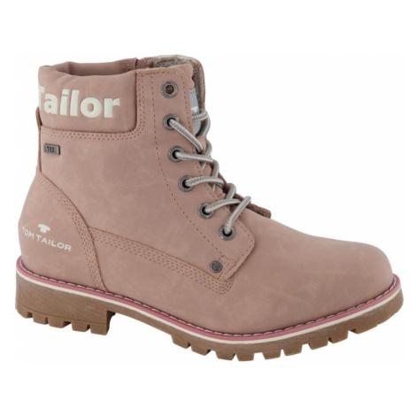 Tom Tailor - Ružová dievčenská členková obuv so zipsom a TEX membránou Tom Tailor