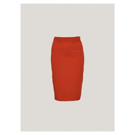 Dámska puzdrová sukňa s imitáciou ručného prešitia Pietro Filipi červená