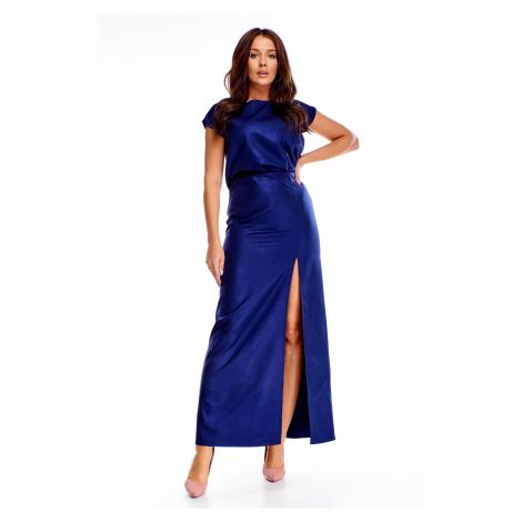 Modré spoločenské maxi šaty