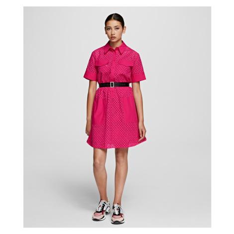Šaty Karl Lagerfeld Karl Broderie Anglais Dress - Ružová