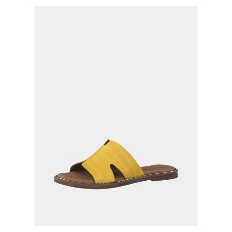 Žlté kožené šľapky s krokodílím vzorom Tamaris