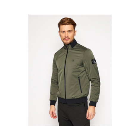 Calvin Klein Jeans Bomber bunda Zip-Up Harrington J30J316615 Zelená Regular Fit