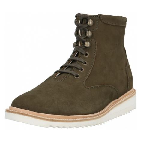 EKN Footwear Šnurovacie čižmy 'DESERT HIGH RIPPLE'  biela / olivová / béžová