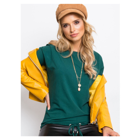 Basic dark green blouse with long sleeves