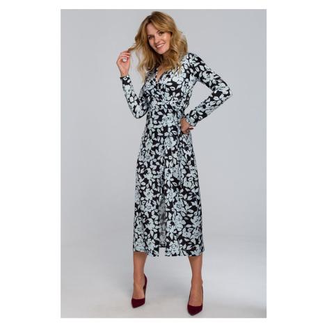 Čierno-modré kvetované zavinovacie šaty K083