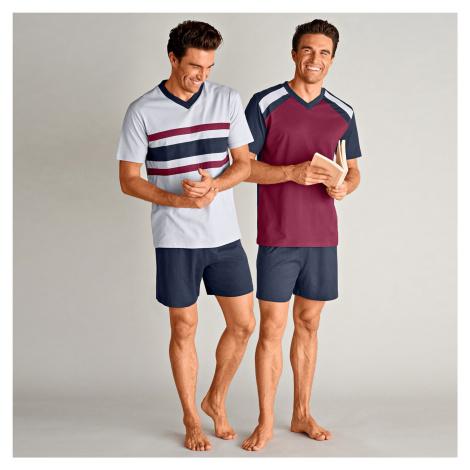 Blancheporte Pyžamo s krátkymi šortkami, súprava 2 ks nám.modrá/bordó