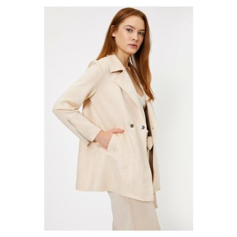 Koton Women's Grey Pocket Detailed Trench Coat