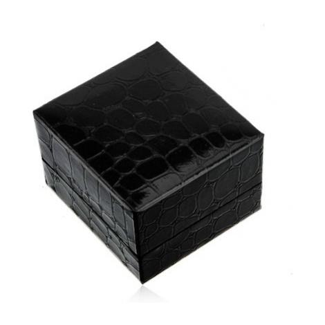 Darčeková krabička na prsteň alebo náušnice, čierna farba, krokodílí vzor
