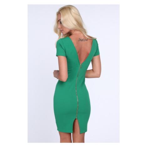 Zelené dámske šaty so zipsom na zadnej strane FASARDI
