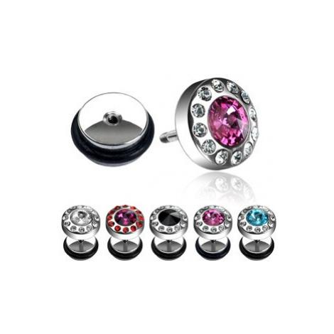 Falošný piercing - kamienok obklopený zirkónmi - Farba zirkónu: Ružová - Číra