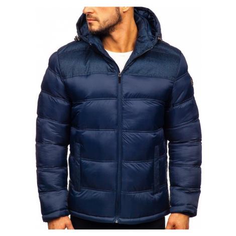 Tmavomodrá pánska prešívaná športová zimná bunda Bolf AB72
