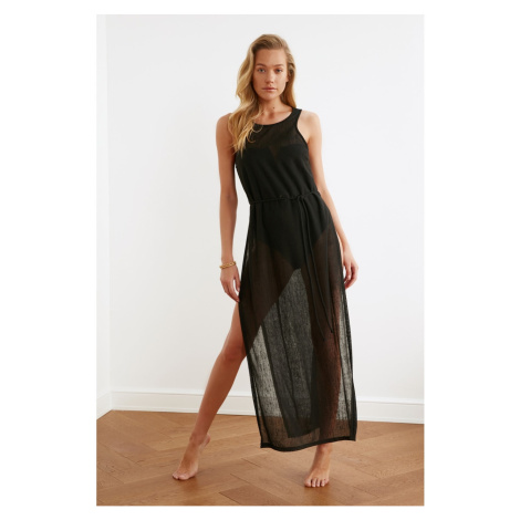 Trendyol Black Deep Slit Knitted Beach Dress