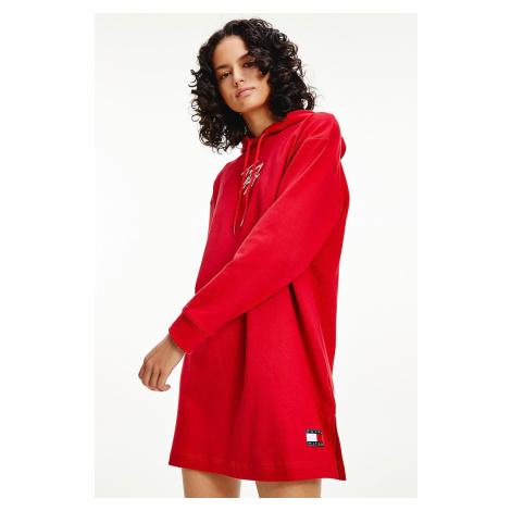 Tommy Hilfiger Signature teplákové šaty z organickej bavlny - červené Veľkosť: XS