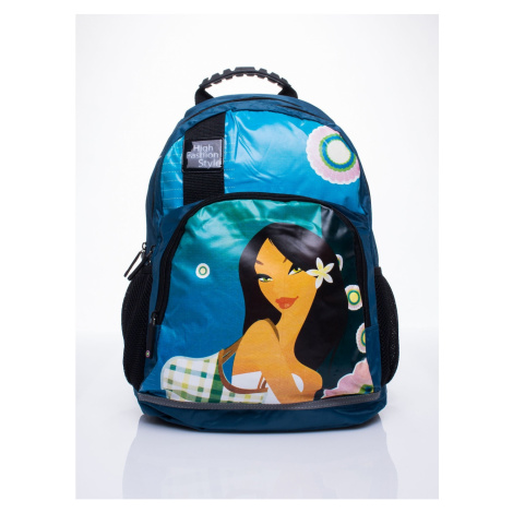 Blue school backpack with Mulan motif