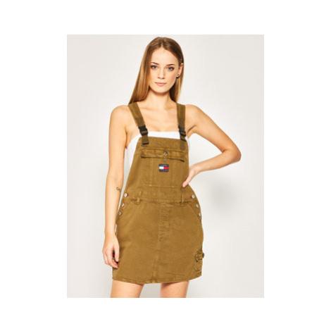 Tommy Jeans Džínsové šaty Dungaree DW0DW08137 Zelená Regular Fit Tommy Hilfiger