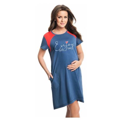Tehotenská a dojčiaca nočná košeľa Andrea modrá Dorota