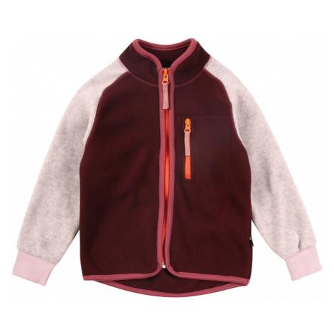 Molo Tepláková bunda 'Unna'  sivá melírovaná / tmavočervená