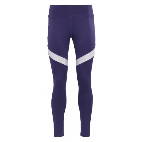 REEBOK Športové nohavice  tmavofialová / biela