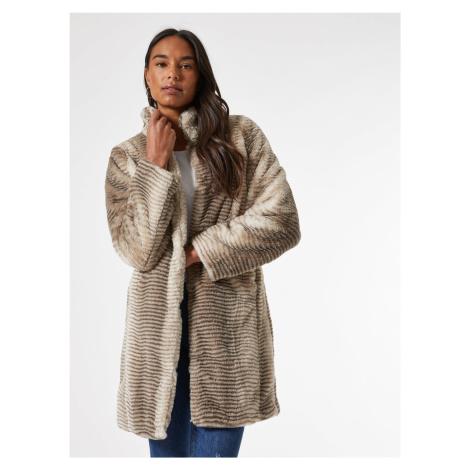 Béžový kabát z umelého kožúšku Dorothy Perkins