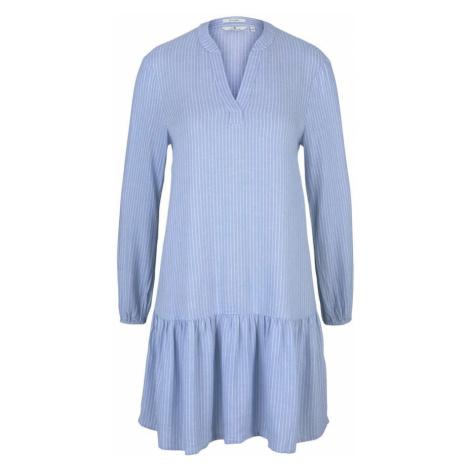 TOM TAILOR Šaty  modrá / biela