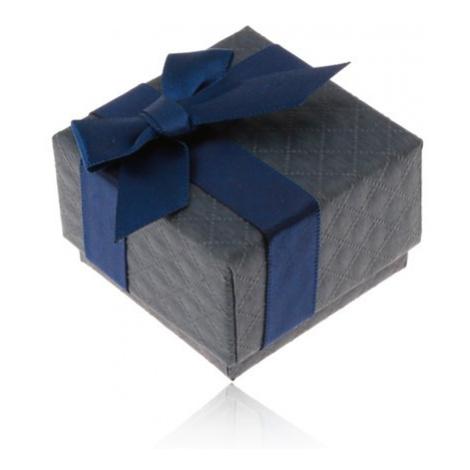 Darčeková krabička na prsteň, prívesok a náušnice, tmavomodrá farba, mašlička