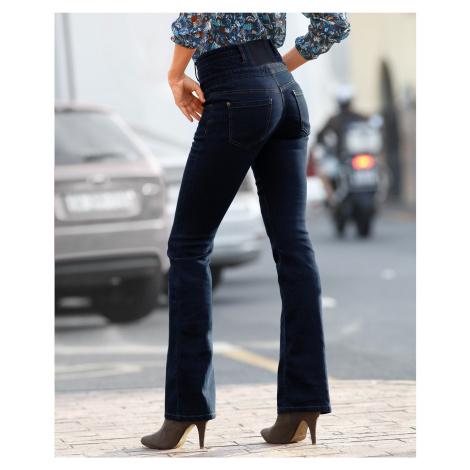 Blancheporte Džínsy s vysokým pásom, strih bootcut tmavomodrá